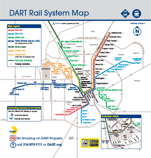 DART Rail System Map Effective August 18, 2014