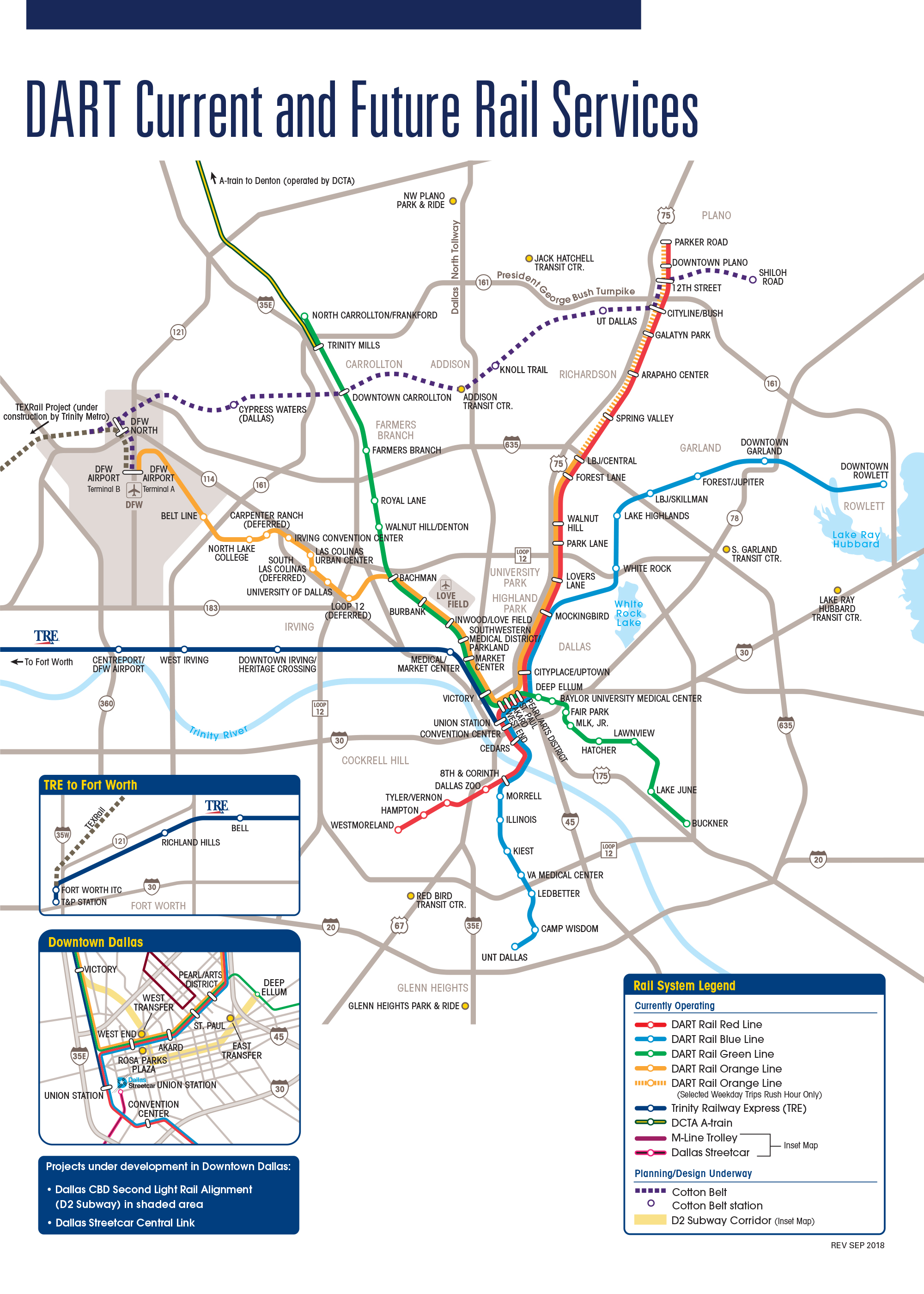 Dart Rail Map DART.  DART Current and Future Services Map Dart Rail Map