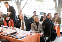 State legislators and DART Board members attend a briefing on the City of Irving's plans for transit-oriented development at DART's Orange Line rail stations.