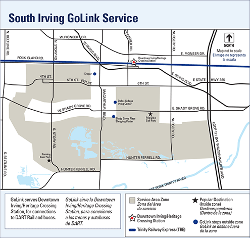 South Irving GoLink zone map