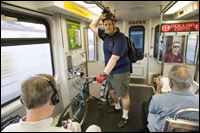 Bicyclist on DART Rail