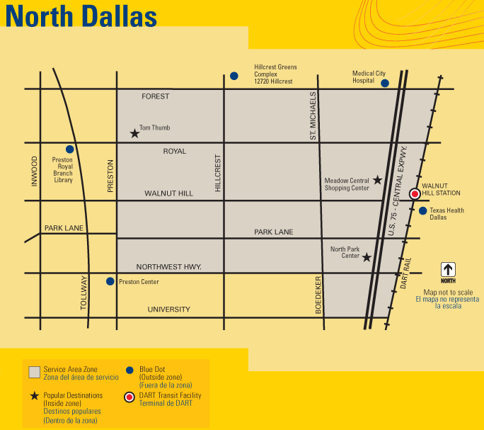 DART On-Call North Dallas Map