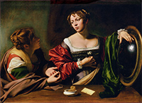 Michelangelo Merisi da Caravggio, Martha and Mary Magdalene, c. 1598, oil and tempera on canvas, Detroit Institute of Arts, Gift of the Kresge Foundation and Mrs. Edsel B. Ford, 73.268