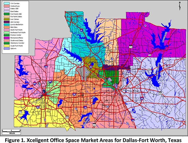 Figure 1. Xceligent Office Space Market Areas for Dallas-Fort Worth, Texas