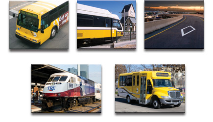 Clockwise from top left: DART Bus, DART Rail, HOV Lane, Trinity Railway Express and DART On-Call images