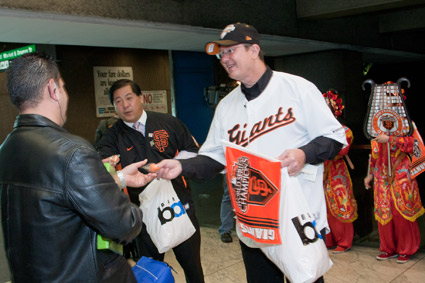 DART President/Executive Director Gary Thomas met customers at BART's Embarcadero Station dressed in a San Francisco Giants jersey and hat