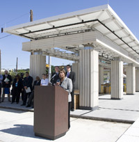 Image: Congresswoman Eddie Bernice Johnson speaks at the future Fair Park Station.