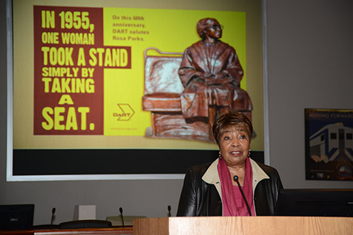 U.S. Representative Eddie Bernice Johnson was on hand Monday for the ceremony honoring Parks.