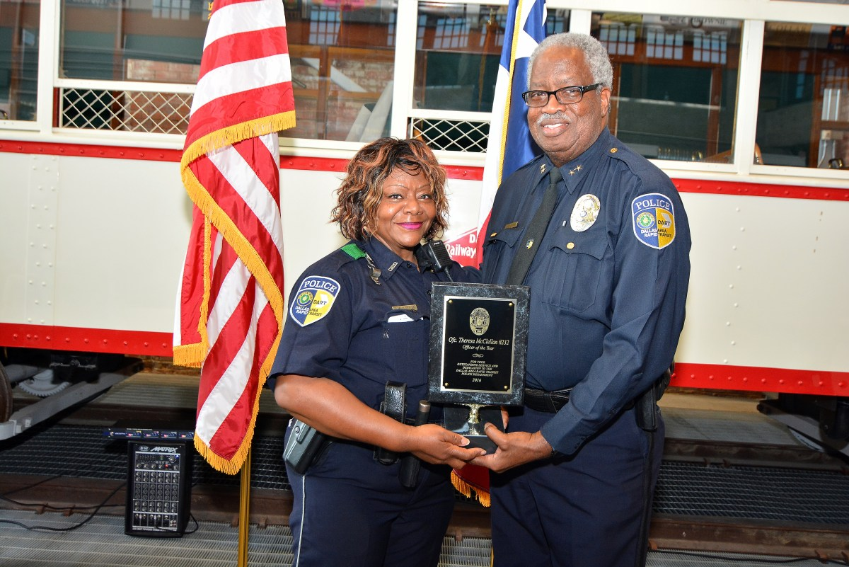 Officer Theresa McClellan is named DART's Officer of the Year by Chief James Spiller