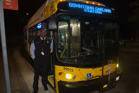 DART Bus Operator/Instruction Ronnie Reed is ready to welcome riders onboard on Monday, January 28