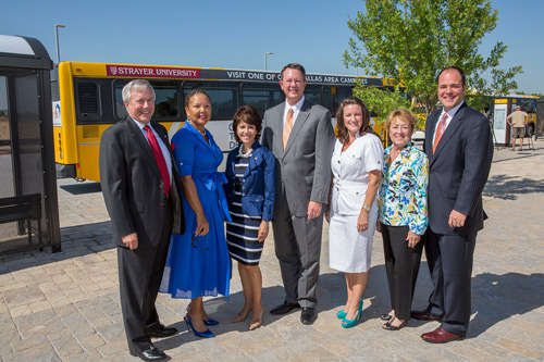 The Northwest Plano Park & Ride opened on Monday, July 30. On hand were (left to right) Lee Dunlap (Plano City Council), Faye Wilkins (DART Board Member), Lissa Smith (Mayor Pro-Tem), Gary Thomas (DART President/Executive Director), Jamee Jolly (President/CEO Plano Chamber of Commerce), Andre' Davidson (Plano City Council) and Ben Harris (Deputy Mayor Pro-Tem)