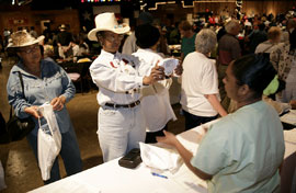 Senior citizens take advantage of free health screenings and information at the 11th Annual Information and Health Fair at Eddie Deen's Ranch.