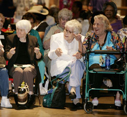 Senior citizens enjoy live entertainment performances in celebration of Older Americans Month at Eddie Deen's Ranch.