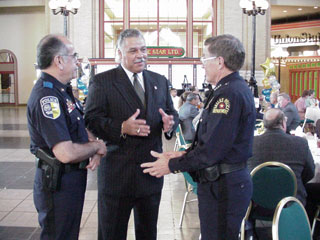DART TRANSIT POLICE 10TH ANNIVERSARY: DART Police Chief Juan Rodriguez (left) celebrates the agency's 10th anniversary with DART Executive Vice President/General Manager Victor Burke (center) and Dallas Police Chief Ben Click.