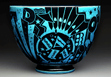 Jazz bowl or New Yorker, c. 1930-1931, Cowan Pottery Studio, maker, Rocky River, Ohio; Viktor Schreckengost, designer, earthenware, Dallas Museum of Art, The Patsy Lacy Griffith Collection, gift of Patsy Lacy Griffith by exchange 2010.32