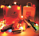 Image of Shopping Bags with Christmas Lights