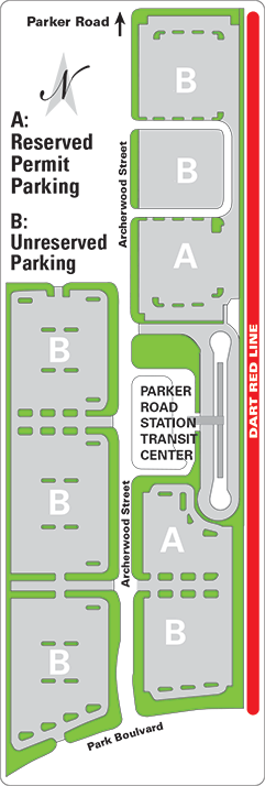 Parker Road Station parking map