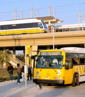 DART Bus and DART Rail at Walnut Hill Station