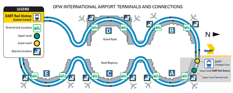Dallas Airport Terminal Map DART.  DFW International Airport Information