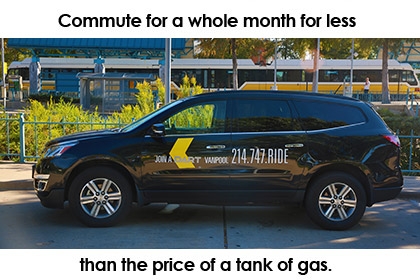 Vanpool. Commute for a whole month for less than the price of a tank of gas.