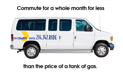Image: Vanpool. Commute for a whole month for less than the price of a tank of gas.