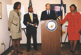 (left to right) FTA Deputy Administrator Nuria Fernandez, Secretary of Transportation Rodney Slater, DART President/Executive Director Roger Snoble, US Rep. Eddie Bernice Johnson at the ceremony marking DART's receipt of a Full Funding Grant Agreement to be used for the extension of DART's North Central rail line.