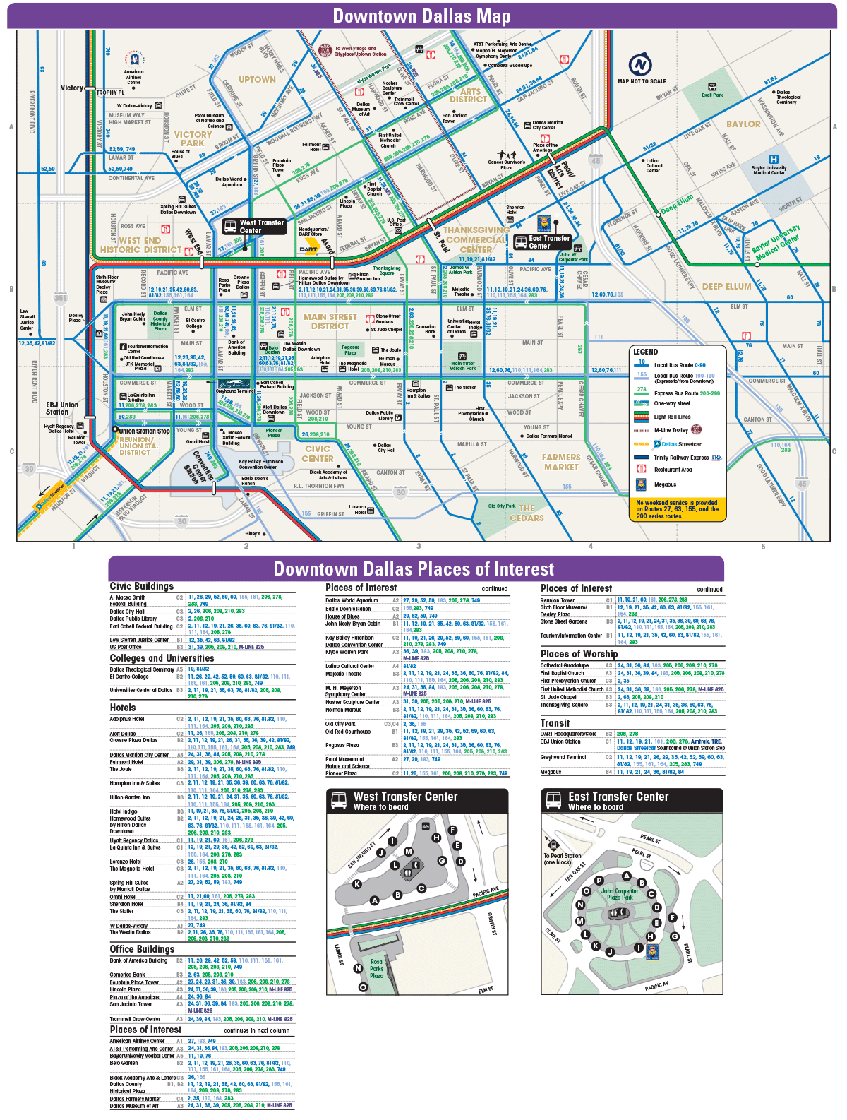 downtown dallas map pdf Dart Org Downtown Dallas Bus Routing And Places Of Interest downtown dallas map pdf