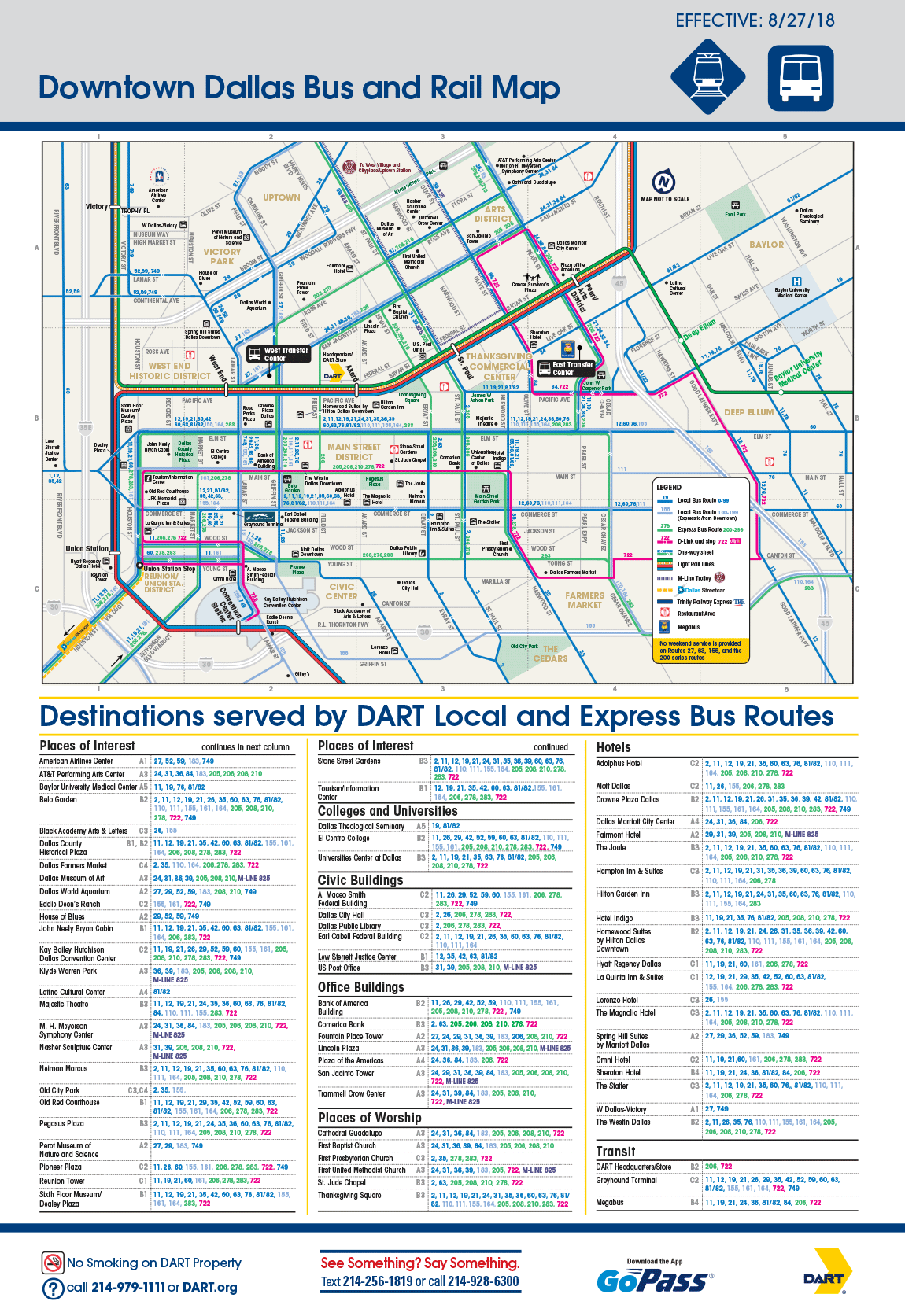 Dart Org Downtown Dallas Bus Routing And Places Of Interest Map