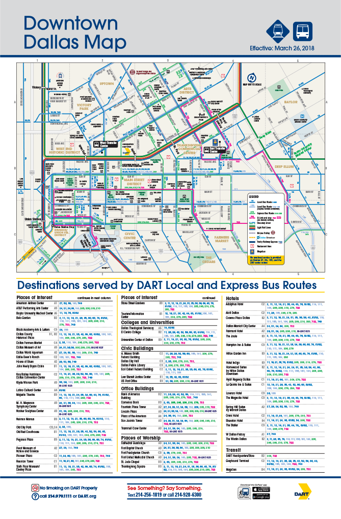 DART Bus Routes in Downtown Dallas