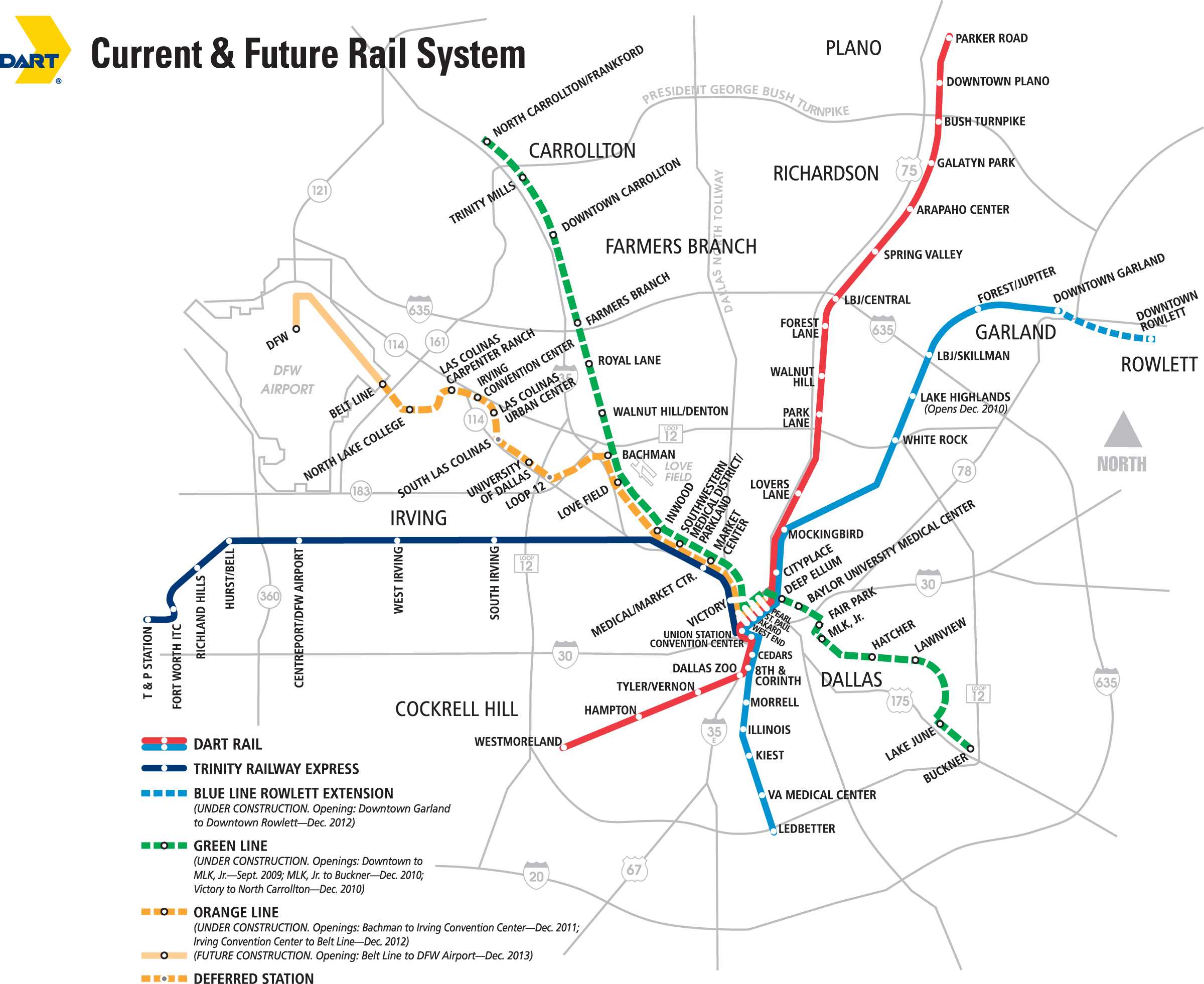 dartorg  dart rail green line news clips - dart rail expansion map